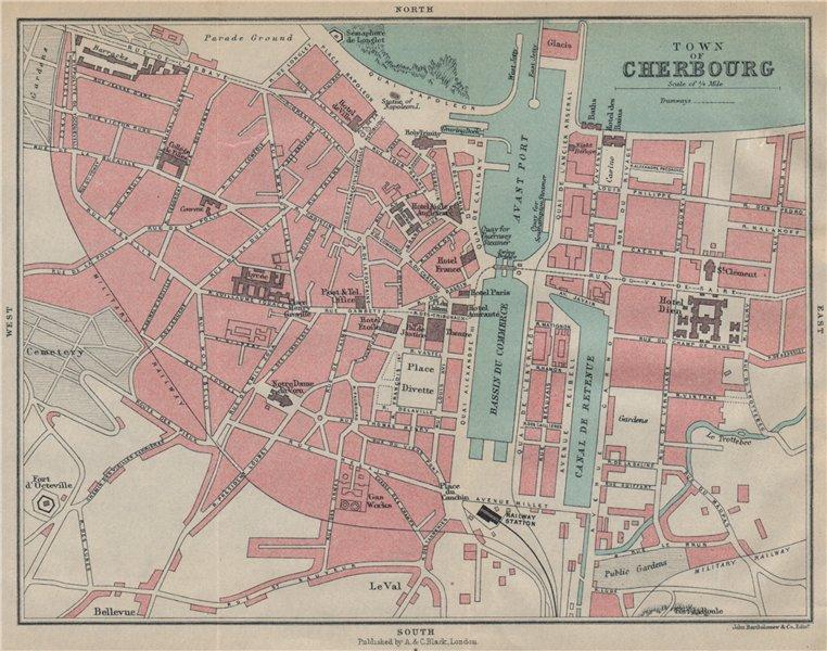 Associate Product CHERBOURG antique town city plan de la ville. Manche 1913 old map