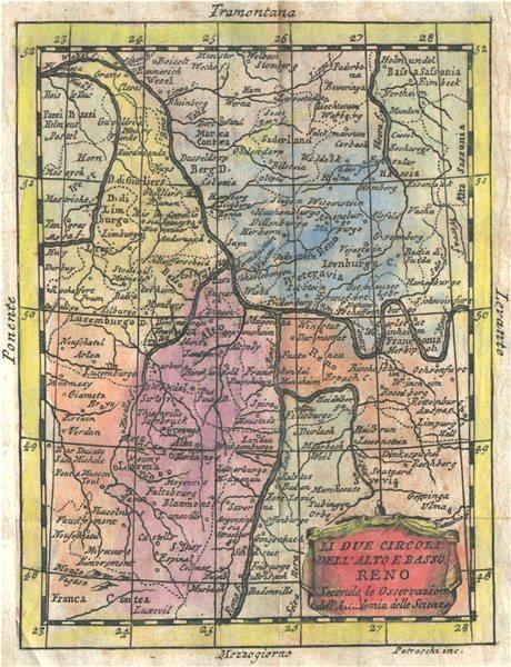 Associate Product 'Li due Circoli Dell' Alto e Basso Reno'. Rhine valley. BUFFIER 1775 old map