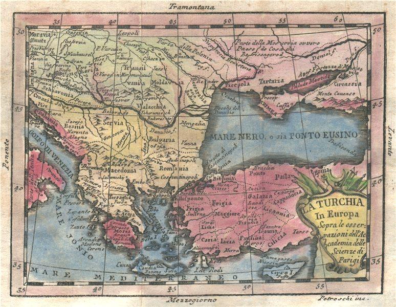 Associate Product 'La Turchia in Europa'. Turkey in Europe. Original hand colour. BUFFIER 1775 map