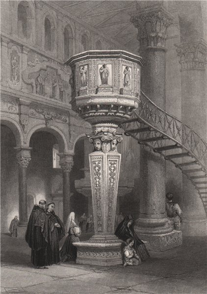 Associate Product Splendid marble pulpit in Messina Cathedral, Italy 1840 old antique print