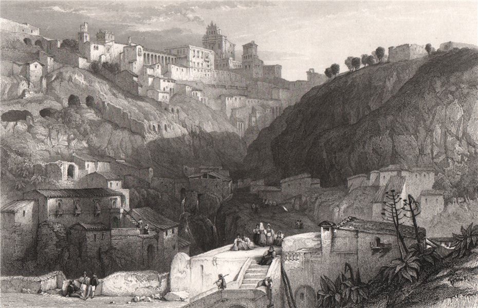 Associate Product Castrogiovanni, the ancient Enna, Italy 1840 old antique vintage print picture