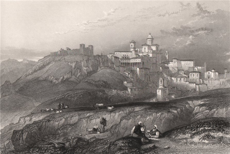Associate Product The town & convent of Piazza, Italy 1840 old antique vintage print picture