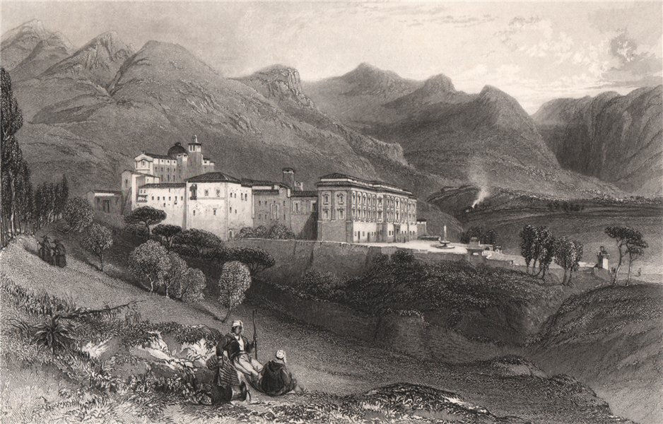 Associate Product Convent of San Martino, near Palermo, Italy 1840 old antique print picture