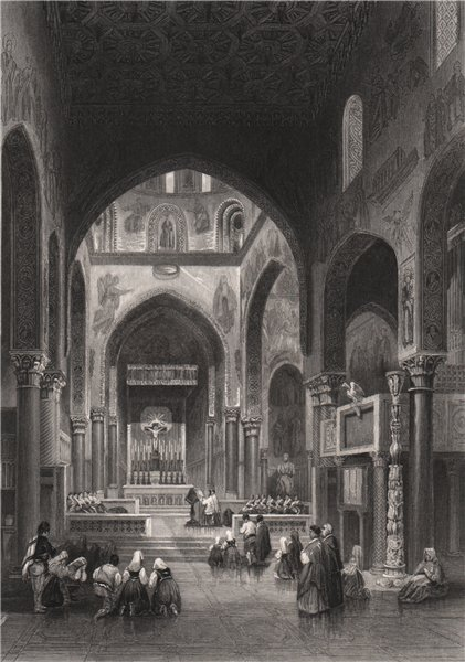 Associate Product Vespers in the Capella Reale, Palermo, Italy 1840 old antique print picture