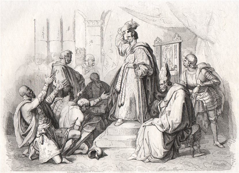 Associate Product Coronation of Boleslaw the Great, in Gniezno. Poland 1836 old antique print