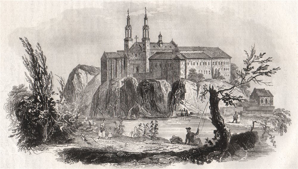 Associate Product Monastery of Tyniec. Poland 1836 old antique vintage print picture