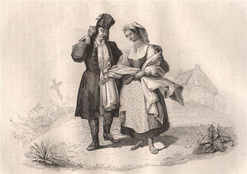 Costumes of Polish peasants around Warsaw. Poland 1836 old antique print