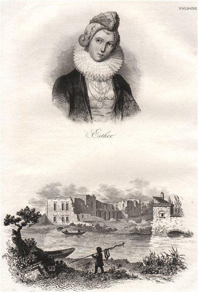 Associate Product Esther; Lobzow castle, near Krakow. Poland 1836 old antique print picture