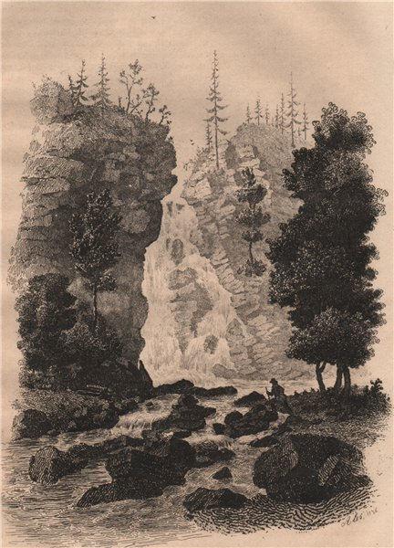 Associate Product Piaseczno Cascade, Carpathian mountains. Poland 1836 old antique print picture