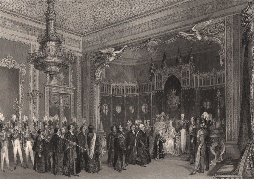 Associate Product The Throne Room, Buckingham Palace. LONDON INTERIORS 1841 old antique print