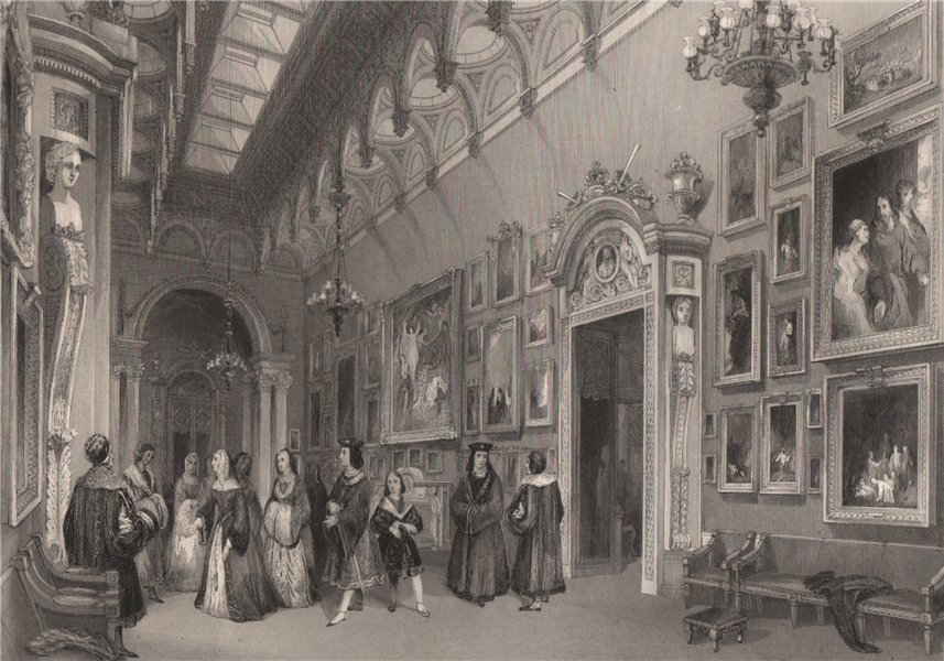 Associate Product The Picture Gallery, Buckingham Palace. LONDON INTERIORS 1841 old print