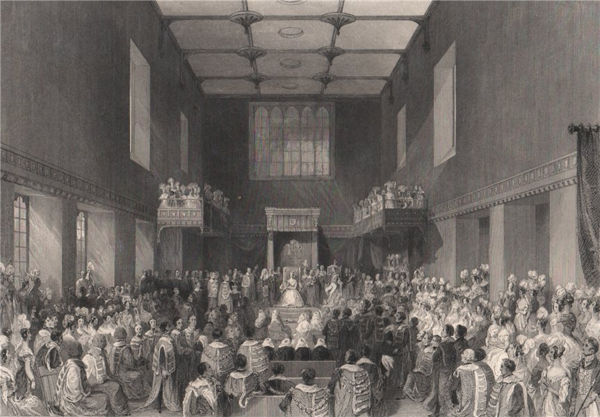 Associate Product House of Lords. Her Majesty opening Parliament. LONDON INTERIORS 1841 print