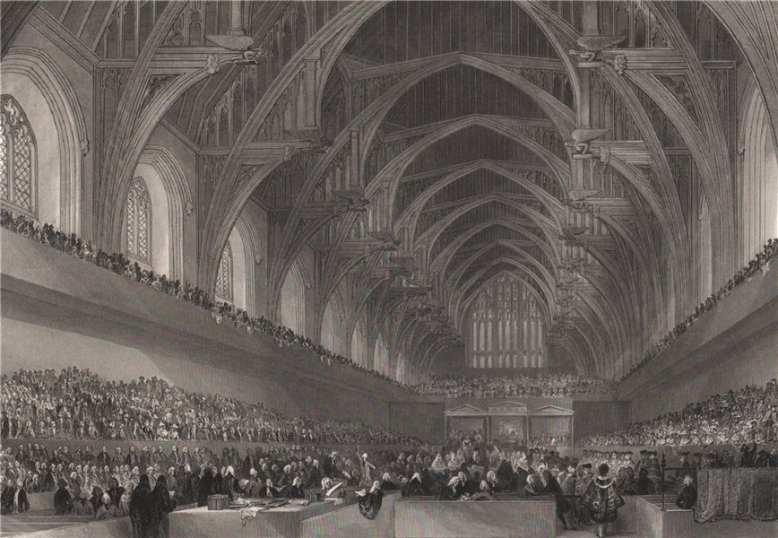 Associate Product Westminster Hall. Trial of Warren Hastings. LONDON INTERIORS 1841 old print
