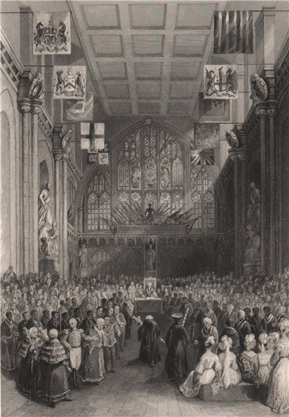 Associate Product The Guildhall. Installation of the Lord Mayor. LONDON INTERIORS 1841 old print