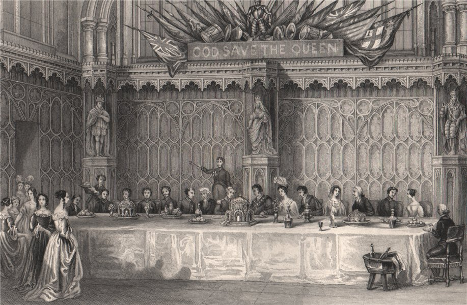 Associate Product Lord Mayor's table, Guildhall. Grand banquet. LONDON INTERIORS 1841 old print