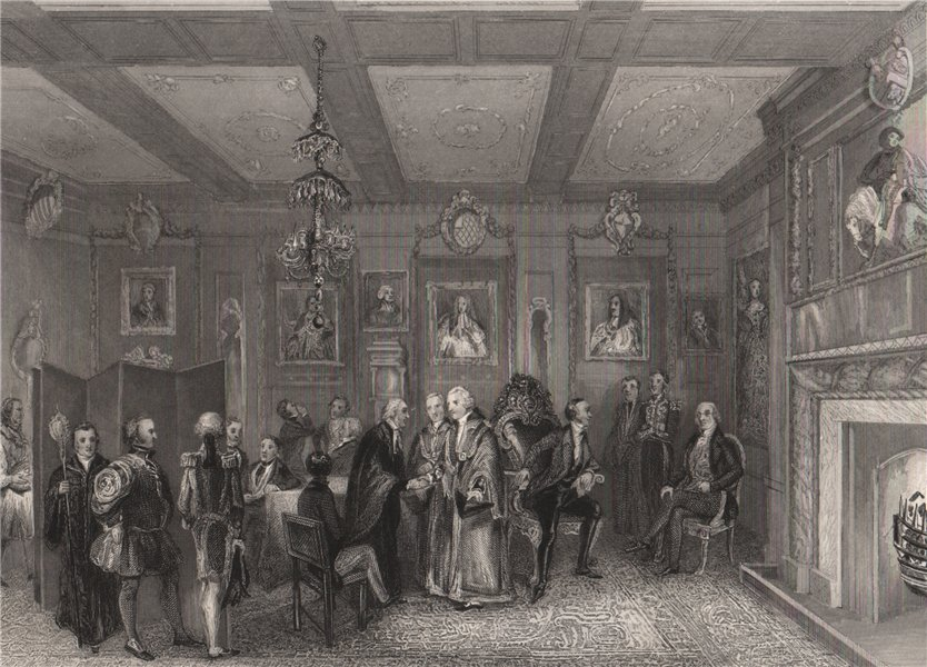 Council chamber, Vintner's Hall. LONDON INTERIORS 1841 old antique print