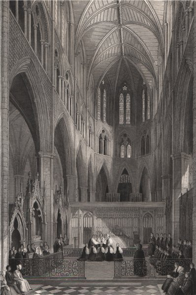 Associate Product Westminster Abbey. Consecration of the colonial bishops. LONDON INTERIORS 1841