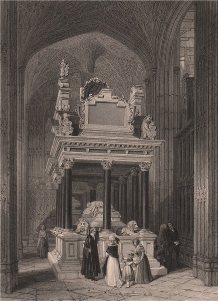 Associate Product Queen Elizabeth's tomb. Henry VIIth Chapel, Westminster Abbey. LONDON 1841