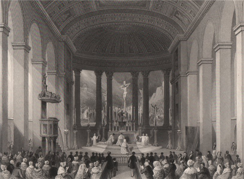 Associate Product Roman Catholic chapel, Moorfields. High mass on Christmas Day. LONDON 1841