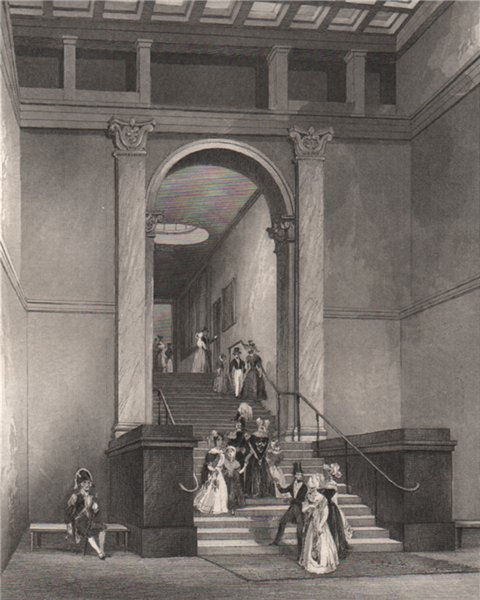 Associate Product Entrance to the National Gallery. LONDON INTERIORS 1841 old antique print