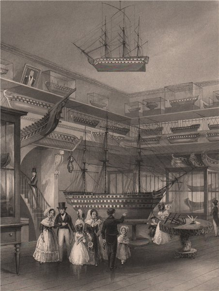 Associate Product Royal Naval Museum, Somerset House. Exhibition of models. LONDON INTERIORS 1841
