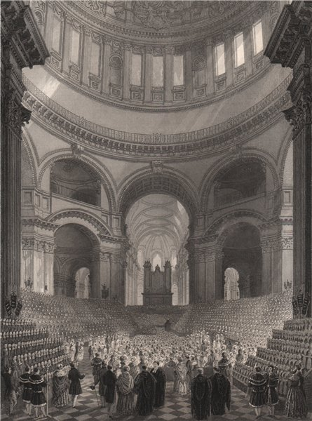 Associate Product St. Paul's Cathedral. Charity Schools of London children meeting. LONDON 1841