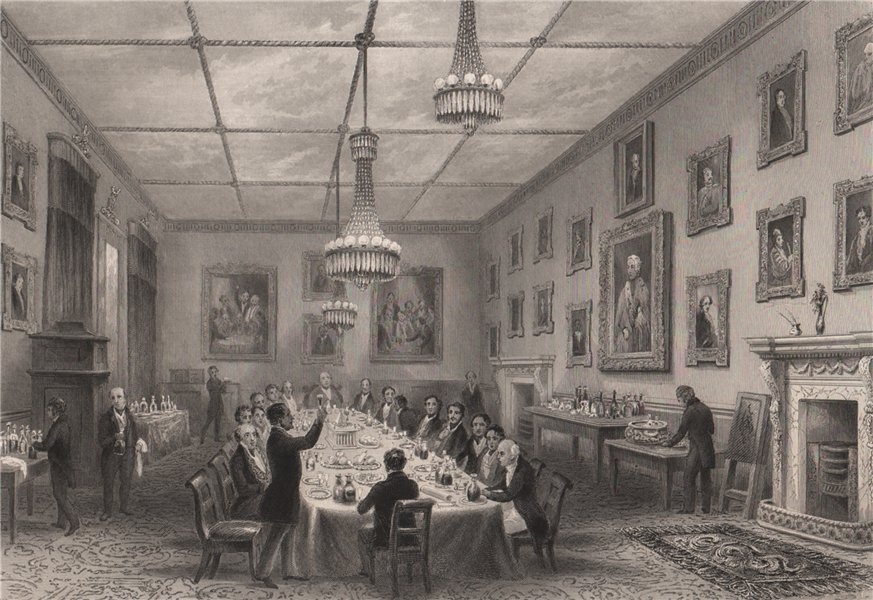Associate Product Thatched House Club. Dinner of the Dilettanti Society. LONDON INTERIORS 1841