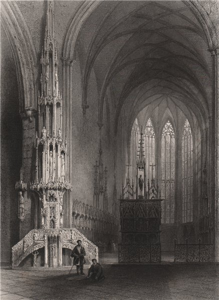 Associate Product Interior of the cathedral at Ulm, Baden-Württemberg. Danube Donau. BARTLETT 1840