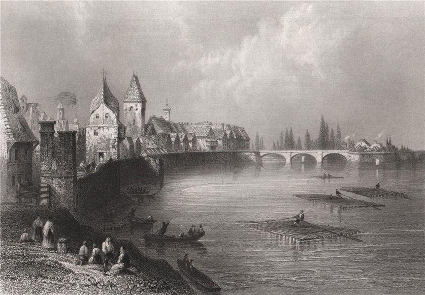 Associate Product Walls and bridge of Ulm, Baden-Württemberg. Danube Donau. BARTLETT 1840 print