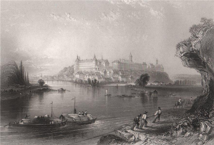 Associate Product Neuburg an der Donau , Bavaria. Danube. BARTLETT 1840 old antique print