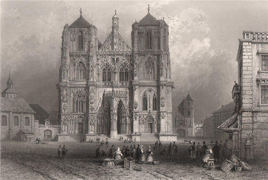 Associate Product Cathedral in Regensburg, Bavaria. Danube Donau. BARTLETT 1840 old print