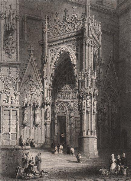 Associate Product Porch of the Cathedral, Regensburg, Bavaria. Danube Donau. BARTLETT 1840 print