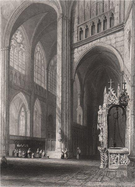 Associate Product Interior of the cathedral, Regensburg, Bavaria. Danube Donau. BARTLETT 1840