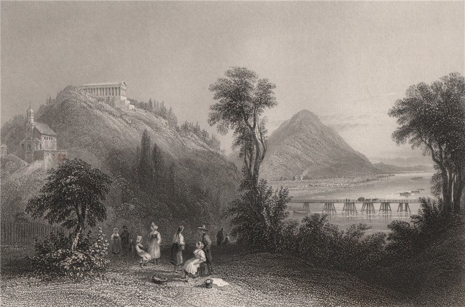 Associate Product Walhalla, Regensburg, Bavaria. Danube Donau. BARTLETT 1840 old antique print