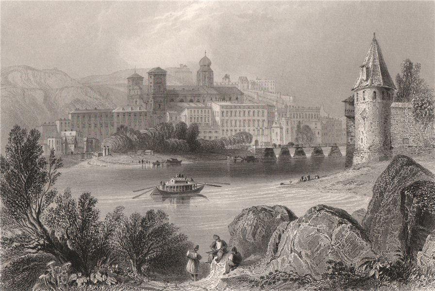Associate Product Passau, Bavaria. Danube Donau. BARTLETT 1840 old antique vintage print picture