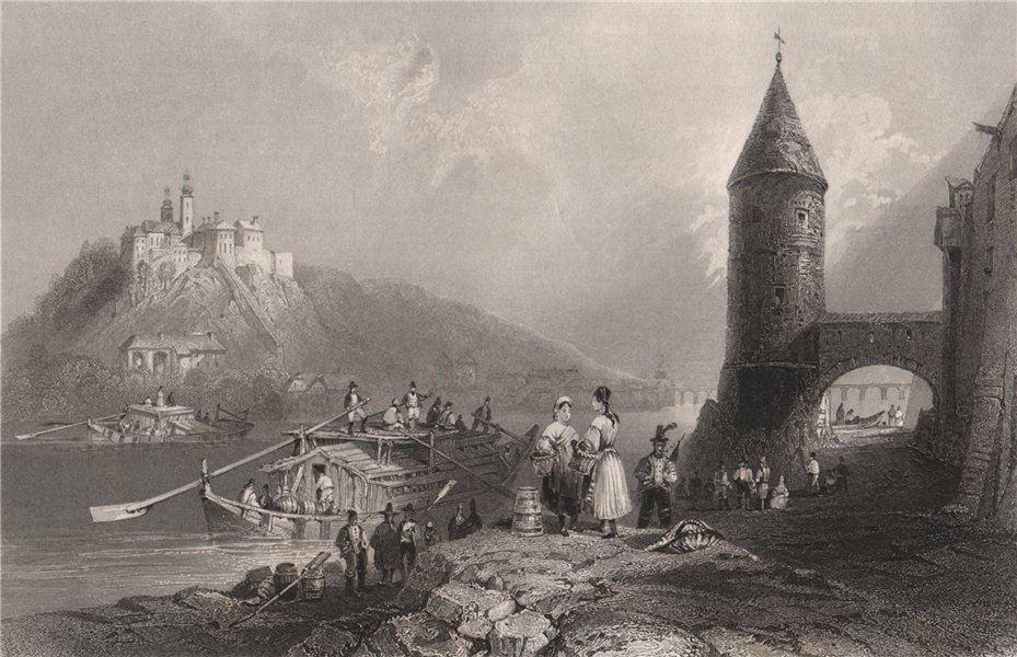 Associate Product Scene on the river Inn, at Passau, Bavaria. Danube Donau. BARTLETT 1840 print