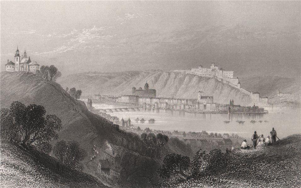 Associate Product Paulinerkloster Mariahilf, river Inn, Passau, Bavaria. Danube Donau 1840 print