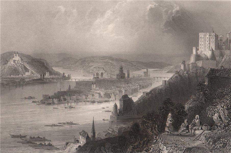 Confluence of the rivers Inn & Danube at Passau, Bavaria. Donau. BARTLETT 1840