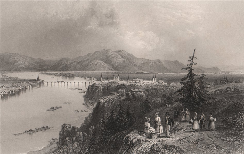 Associate Product Linz, Austria. Danube Donau. BARTLETT 1840 old antique vintage print picture