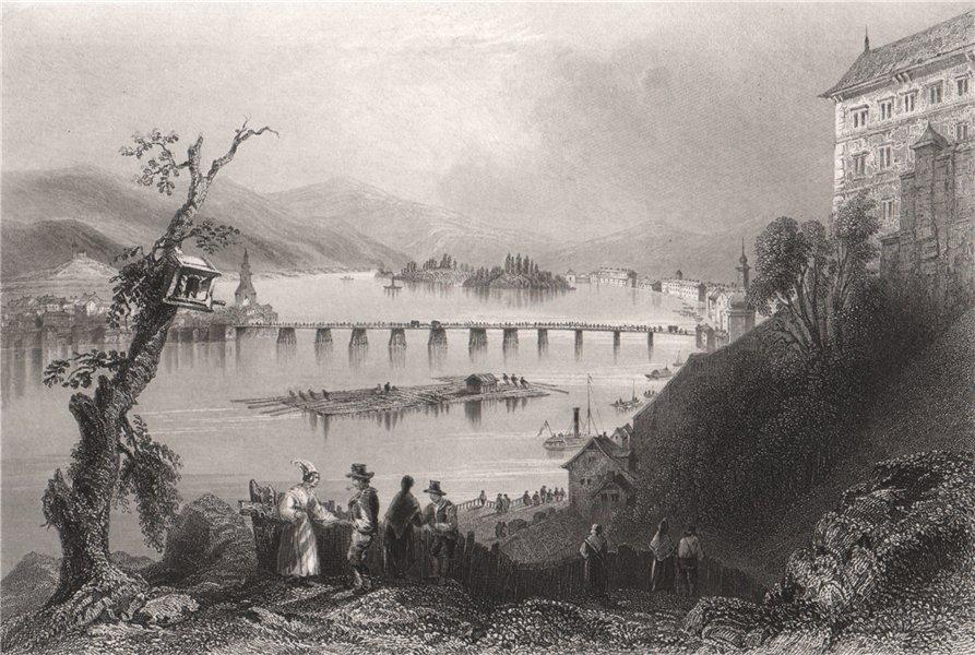 Associate Product Bridge of Linz, Austria. Danube Donau. BARTLETT 1840 old antique print picture