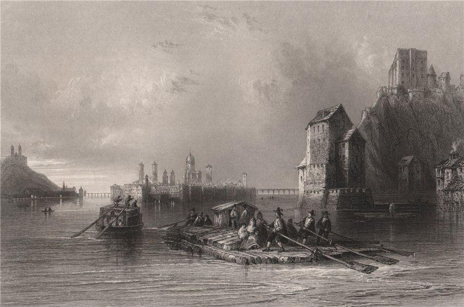 Associate Product Approach to Passau from Linz, Bavaria. Danube Donau. BARTLETT 1840 old print