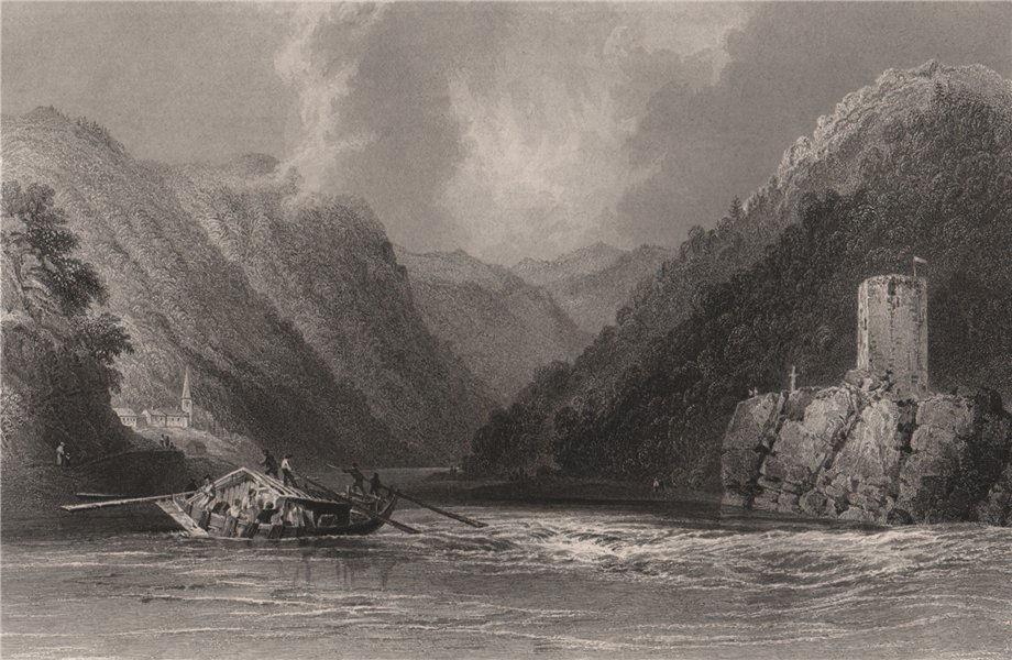 Associate Product The Wirbel & Kaustein, Sankt Nikola an der Donau, Austria. Danube. BARTLETT 1840