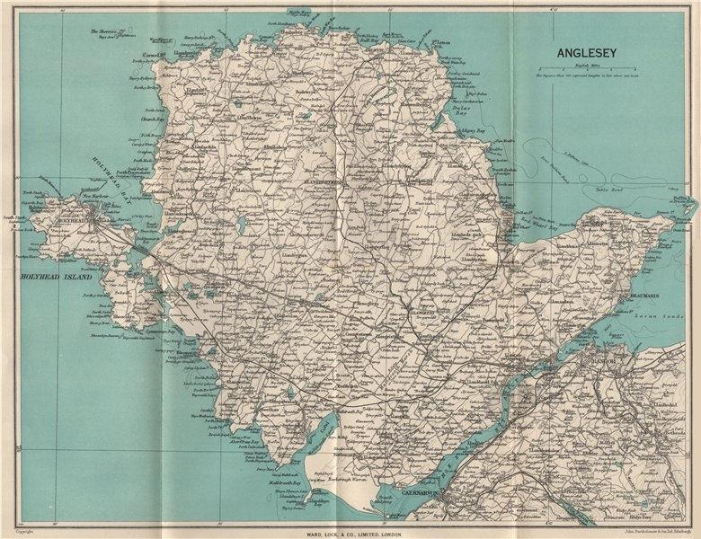 Associate Product ANGLESEY. Menai Strait Holyhead Bangor Beaumaris Caernarvon. WARD LOCK 1950 map