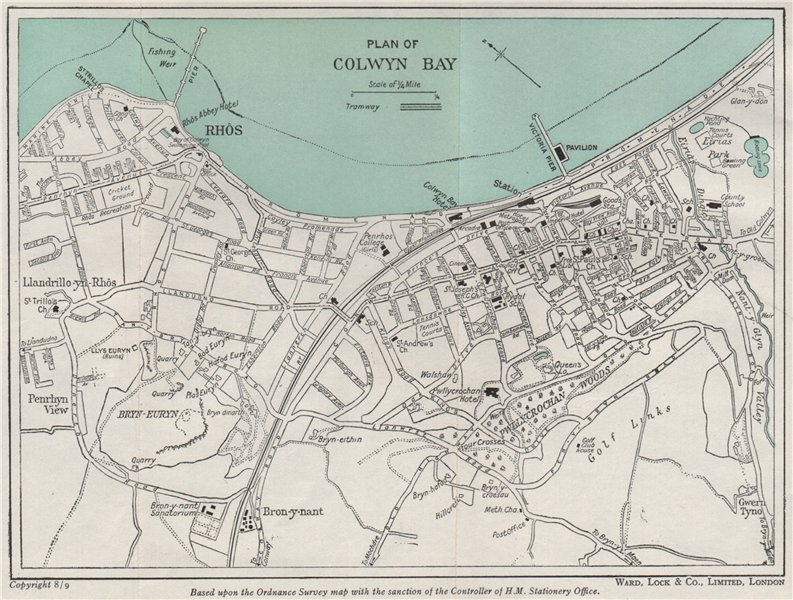 Associate Product COLWYN BAY vintage town/city plan. Wales. WARD LOCK 1950 old vintage map chart