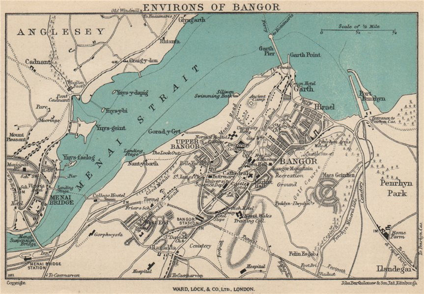 Associate Product BANGOR vintage town/city plan. Menai Bridge. Wales. WARD LOCK 1950 old map
