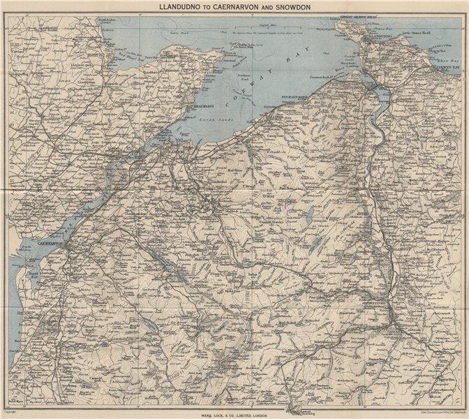 Associate Product NW WALES. Llandudno Caernarvon Snowdonia Anglesey Bangor. WARD LOCK 1950 map