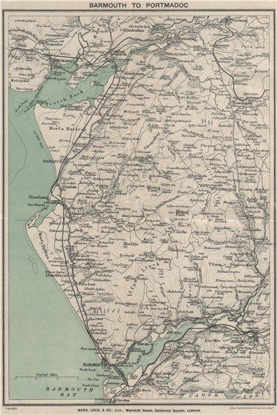Associate Product SNOWDONIA COAST. Barmouth-Porthmadog. Ffestiniog Dolgellau. WARD LOCK 1923 map