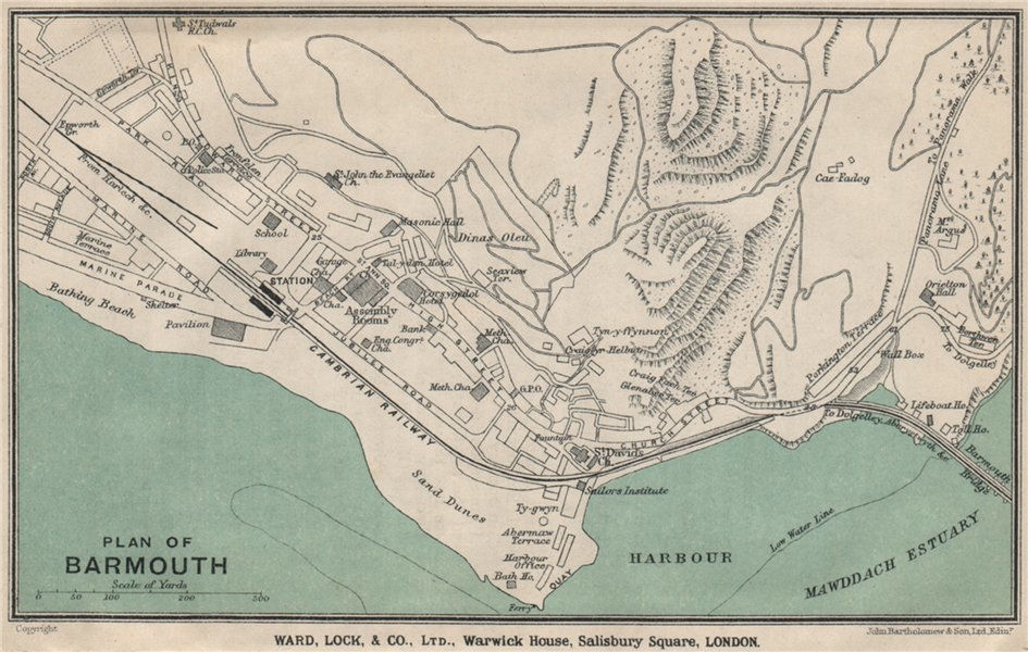 BARMOUTH vintage town/city plan. Wales. WARD LOCK 1923 old vintage map chart