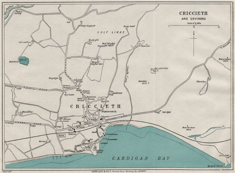 Associate Product CRICCIETH AND ENVIRONS vintage town/city plan. Wales. WARD LOCK 1923 old map