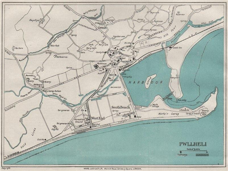 Associate Product PWLLHELI vintage town/city plan. Wales. WARD LOCK 1923 old vintage map chart